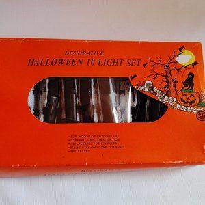 Vintage Halloween 10 Light Set Skeleton Coffin
